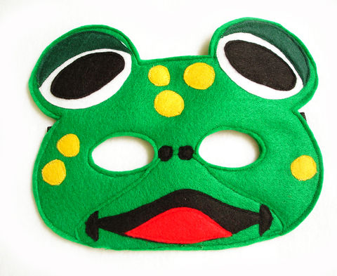 Children's,FROG,Felt,Mask,,What,Does,The,Fox,Say?,Children, Clothing, Costume, dress up, pretend play, halloween costume, christmas gift, party favor, felt mask, kids mask, animal mask, birthday gift, toy, fox mask, fish mask, magicalattic,