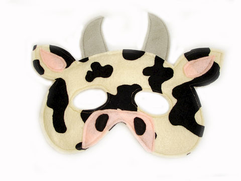 Children's,Farm,Barnyard,Animal,COW,Felt,Mask,Children, Clothing, Costume, dress up, pretend play, halloween costume, party favor, felt mask, kids mask, woodland animal mask, boys mask, toy, birthday party, barnyard animal, farm theme party, magicalattic