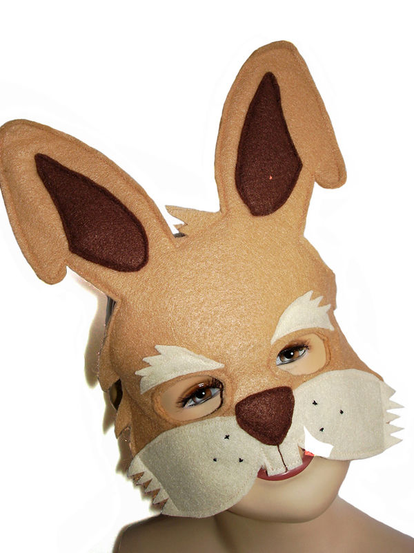 Children's Woodland Animal Brown RABBIT Felt Mask - product images  of