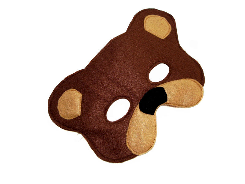 Children's Woodland Animal BROWN BEAR Felt Mask - product images  of