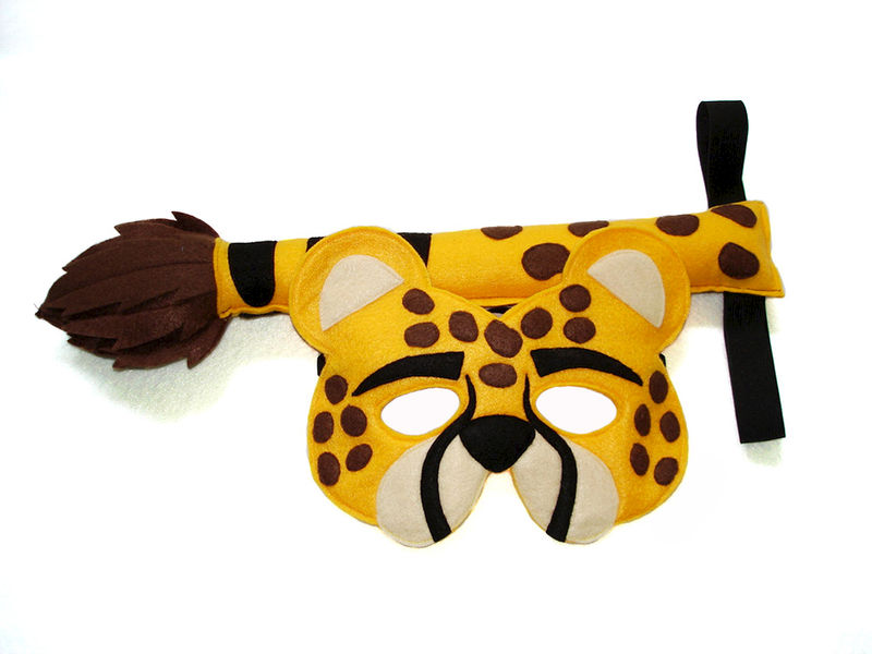 Children's Safari Animal CHEETAH Felt Mask and Tail Set - product images  of