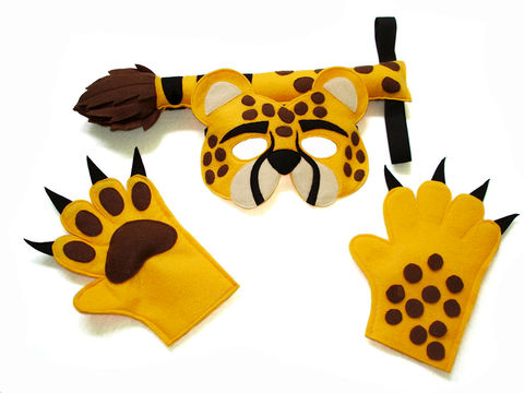 Children's,Safari,Animal,CHEETAH,Felt,Mask,Tail,and,Paws,Costume,Set,Children, Clothing, Costume, halloween costume, christmas gift, felt mask, kids mask, animal mask, safari birthday, cheetah paws, cheetah tail, cheetah kids mask, magicalattic, zoo animal