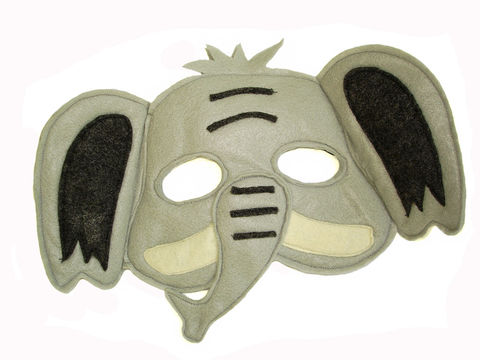 Children's,Safari,Animal,ELEPHANT,Felt,Mask,Children, Clothing, Costume, dress up, pretend play, halloween costume, party favor, felt mask, kids mask, woodland animal mask, boys mask, jungle animal, safari animal, Africa safari, elephant, magicalattic, zoo animals, zoo animal