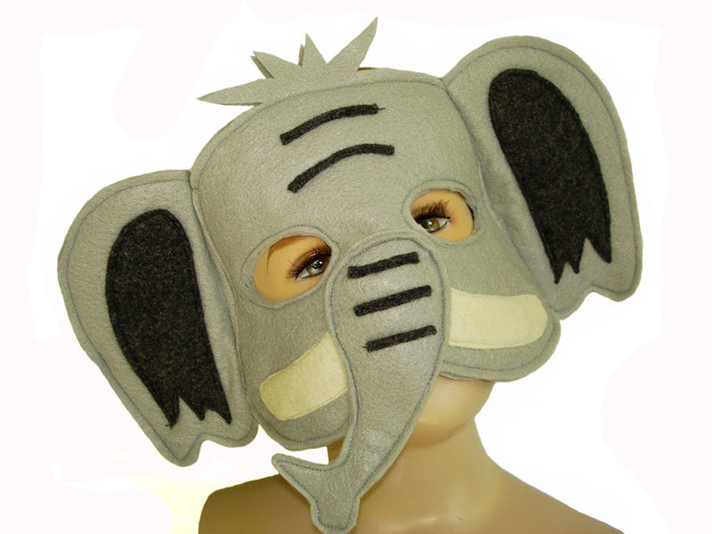 Children's Safari Animal ELEPHANT Felt Mask - product images  of