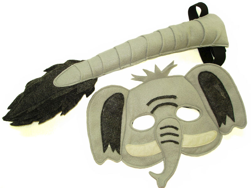Children's Safari Animal ELEPHANT Felt Mask and Tail Set - product images  of
