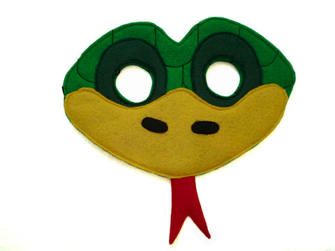 Children's,Green,Snake,Felt,Animal,Mask,Children, Clothing, Costume, dress up, halloween costume, christmas gift, party favor, felt mask,  kids mask, animal mask, birthday gift, toy, green snake costume, grass snake, woodland animals, zoo animal, magicalattic, safari animal mask, jungle animal