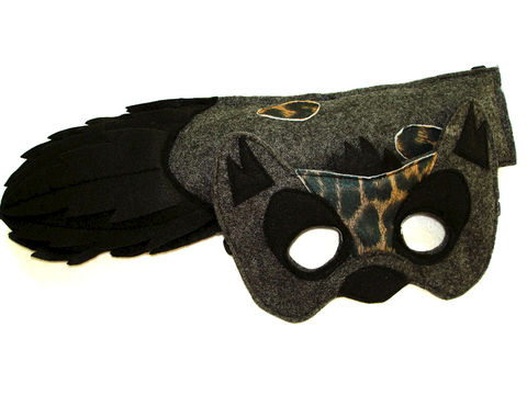 Children's,Safari,Animal,HYENA,Felt,Mask,and,Tail,Set,Children, Clothing, Costume, dress up, pretend play, halloween costume, christmas gift, party favor, felt mask, kids mask, animal mask, eco felt, safari birthday, hyena kids mask, hyena tail, magicalattic, zoo animal