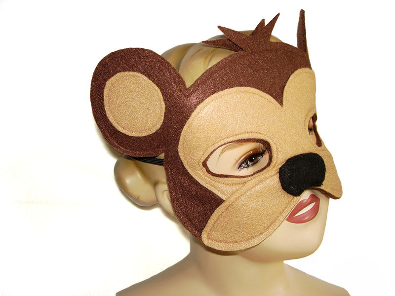 Children's Safari Animal MONKEY Felt Mask and Tail Set - product images  of