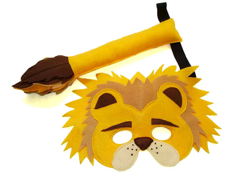Children's Safari Animal LION Felt Mask and Tail Set - product images  of