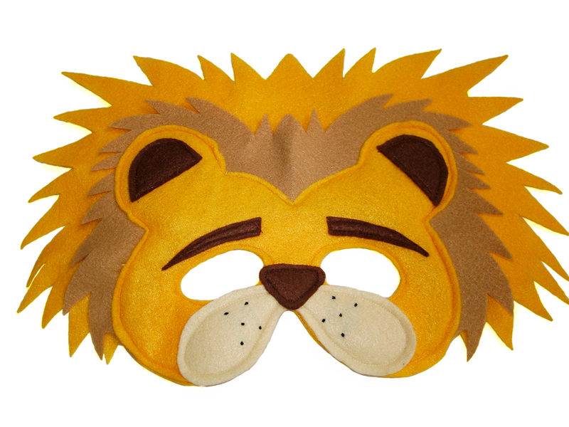Children's Safari Animal LIONS Felt Mask Tail and Paws Costume Set - product images  of