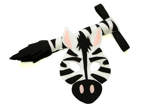Children's,Safari,Animal,ZEBRA,Felt,Mask,and,Tail,Set,Children, Clothing, Costume, dress up, halloween costume, christmas gift, felt mask, kids mask, animal mask, woodland animal mask, lion king, zebra tail, zebra kids mask, zoo animal mask, magicalattic