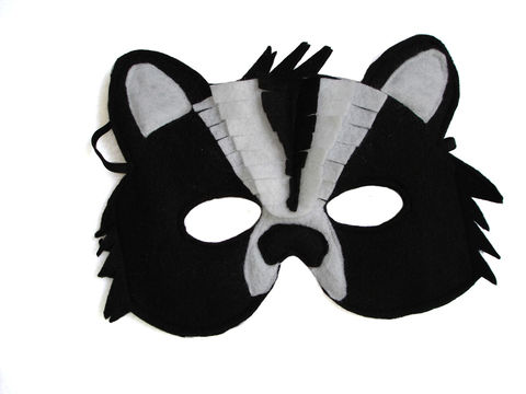 Children's,Woodland,Animal,SKUNK,Felt,Mask,Children, Clothing, Costume, dress up, pretend play, halloween costume, christmas gift, party favor, kids mask, dog mask, woodland animal mask, boys mask, kids skunk mask, birthday gift, toy mask, zoo animal mask, magicalattic