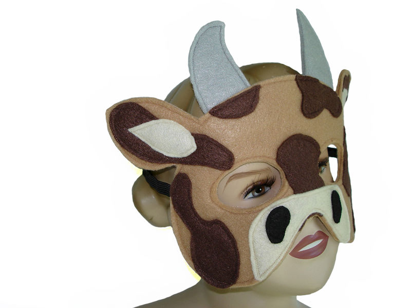 Children's Farm Barnyard Animal COW Felt Mask - product images  of