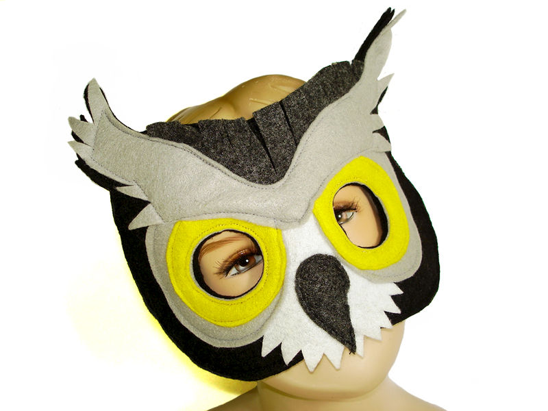 Children's Woodland Animal GREAT GREY OWL Felt Mask - product images  of