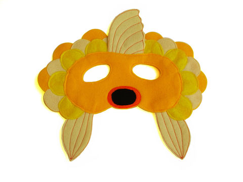 Children's,GOLDFISH,Felt,Mask,Children, Clothing, Costume, dress up, pretend play, halloween costume, christmas gift, party favor, felt mask, kids mask, animal mask, birthday gift, toy, fox mask, gold fish mask, magicalattic, what does the fox say, brown bear brown bear what do you sa