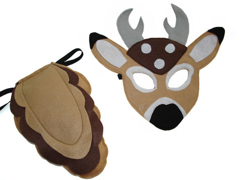 Children's,Woodland,Animal,DEER,Felt,Mask,and,Tail,Set,Children, Clothing, Costume, dress up, pretend play, halloween costume, christmas gift, felt mask, kids mask, animal mask, woodland costume, woodland party theme, eco felt, birthday favor, white tail deer, magicalattic