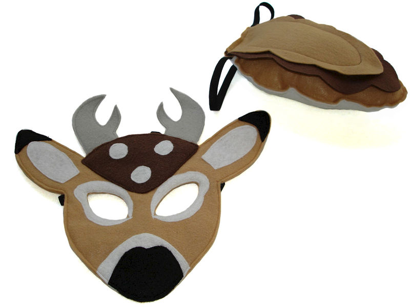 Children's Woodland Animal DEER Felt Mask and Tail Set - product images  of