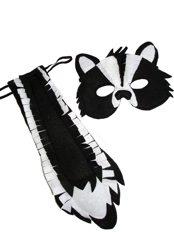 Children's Woodland Animal SKUNK Felt Mask and Tail Set - product images  of