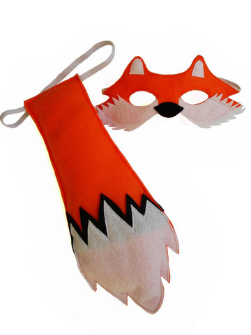 Children's,Woodland,Animal,FOX,Felt,Mask,and,Tail,Set,Children, Clothing, Costume, dress up, pretend play, halloween costume, christmas gift, party favor, felt mask, kids mask, animal mask, kids fox mask, woodland costume, woodland party theme, eco felt, what does the fox say, magicalattic