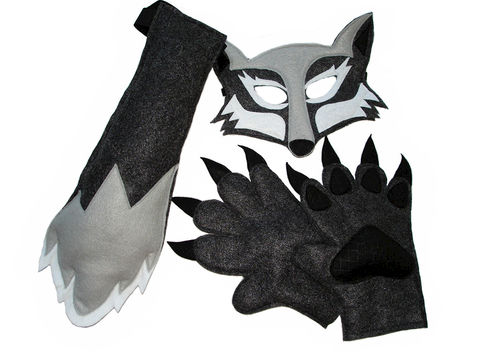 Children's,Woodland,Animal,Halloween,WOLF,Felt,Costume,Set,Children, Clothing, Costume, halloween costume, christmas gift, felt mask, kids mask, animal mask, safari birthday, jungle animal mask, wolf paws, wolf mask, wolf tail, wolf mask and tail, woodland animal mask, magicalattic