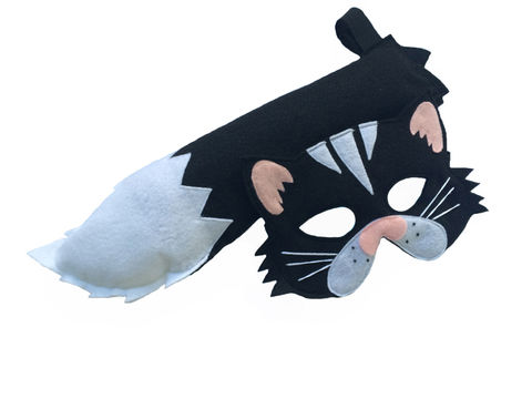 Children's,Animal,Black,CAT,Felt,Mask,and,Tail,Set,Children, Clothing, Costume, dress up, pretend play, halloween costume, christmas gift, party favor, felt mask, kids mask, animal mask, kids fox mask, woodland costume, eco felt, barnyard animal, magicalattic