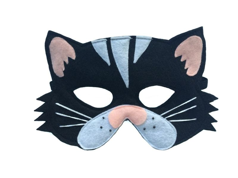 Children's Animal Black CAT Felt Costume Set Incluidng Mask, Tail and Matching Paws - product images  of