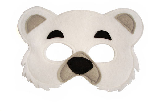 Children's,Animal,POLAR,Bear,Felt,Mask,Children, Clothing, Costume, dress up, pretend play, halloween costume, christmas gift, party favor, felt mask, kids mask, animal mask, jungle animal mask, magical attic, toy, woodland animals, magicalattic