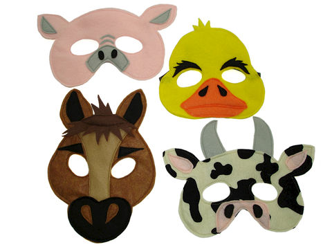 Children's,Barnyard,Farm,Animals,Felt,Mini,Combo,of,4,Masks,Children, Clothing, Costume, pretend play, halloween costume, kids mask, photo prop, barnyard animal, barnyard masks, farm themed party, farm animal masks, cow, pig, horse, duck, chicken, magicalattic