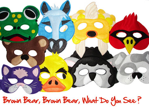 Brown,Bear,,What,Do,You,See?,Set,of,9,Children's,Animal,Felt,Masks,Combo,Children, Clothing, Costume, halloween costume, yellow duck mask, purple cat mask, red bird mask, blue horse mask, white dog mask, green frog mask, goldfish mask, brown bear mask, black sheep mask, kids mask, brown bear book, themed birthday, magicalattic