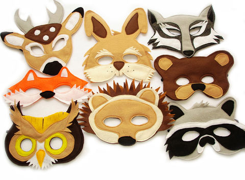 Children's,Woodland,Animals,Felt,Mask,Super,Combo,of,8,Masks,Children, Clothing, Costume, pretend play, halloween costume, woodland costume, eco felt, kids wolf mask, bear mask, fox mask, owl mask, birthday theme, rabbit mask, raccoon mask, barnyard animal mask, magicalattic