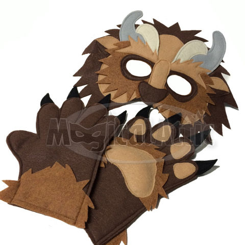 Children's,Beauty,and,the,Beast,Handmade,BEAST,Felt,Mask,Matching,Paws,Children, Cosplay, Costume, fantasy mask, dress up, pretend play, halloween costume, party favor, felt mask, girls mask, kids mask, animal mask, prince mask, belle, beauty and the beast, disney, magicalattic, enchanted rose,