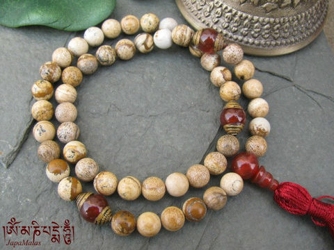 Picture,Jasper,pocket,Mala,with,carnelian,guru,bead,purified,&,blessed,mala,Jewelry,Necklace,Beadwork,buddhist_mala,meditation,yoga,zen,prayer_beads,worry_beads,yoga_jewelry,japa_mala,jasper,japa,Tibetan_mala,mantras,pure intention,turquoise