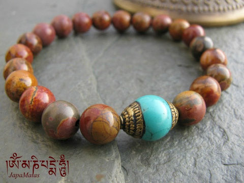 Picasso,Jasper,Bracelet,Mala,with,turquoise,bead,purified,&,blessed,mala,Jewelry,Beadwork,buddhist_mala,meditation,yoga,zen,prayer_beads,worry_beads,yoga_jewelry,power_bracelet,bracelet,japa_mala,jasper,mantras,pure intention