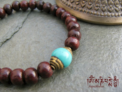Rosewood,Bracelet,Mala,with,capped,turquoise,guru,bead,purified,&,blessed,mala,Jewelry,Beadwork,japa_mala_bead,meditation,yoga,zen,prayer_beads,worry_beads,yoga_jewelry,red_sandalwood,rosewood,bracelet,tibetan,christmas_in_july,mantras,pure intention,rosewood beads,elastic cord,capped turquoise