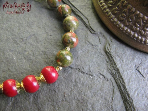 Unakite,with,Coral,Mala,Bracelet,purified,&,blessed,mala,Jewelry,Charm_Bracelet,japa_mala,power_stone,japa_malas,japa_mala_beads,malas,gemstone,reiki,meditation,yoga,energy_bracelet,coral,unakite,mantras,pure intention