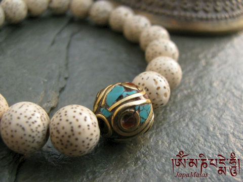 Lotus,seed,Bracelet,Mala,with,decorated,guru,bead,purified,&,blessed,mala,Jewelry,Beadwork,japa_mala_bead,meditation,yoga,zen,prayer_beads,worry_beads,yoga_jewelry,lotus_seed,laxmi,bracelet,compassion,reiki,mantras,pure intention,lotus seed beads,elastic cord,bodhi seed,decorated bead