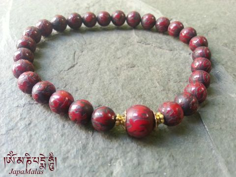 Red,Conch,shell,Mantra,carved,beads,bracelet,red conch shell, japa mala, bracelet mala, prayer bead, compassion mala,