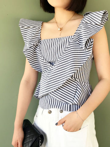 Frill,Striped,Top,top, striped top,