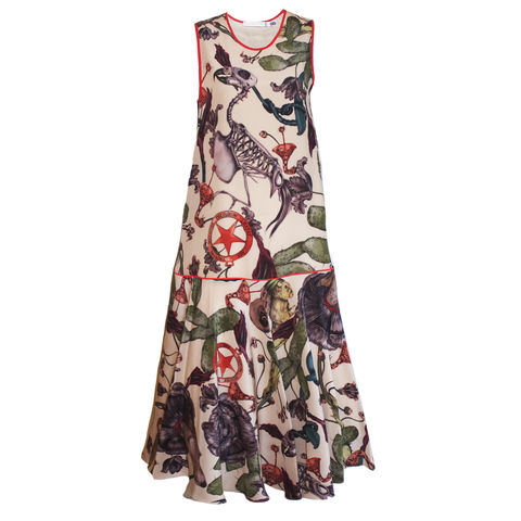 FLORRY,DRESS,IN,FREAKS,PRINT,drop wait silk printed dress made in england