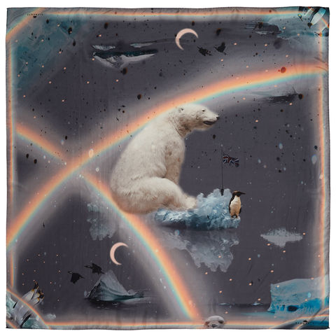 COLERIDGE,SQUARE,SCARF,antarctic polar bear penguin rainbow grey