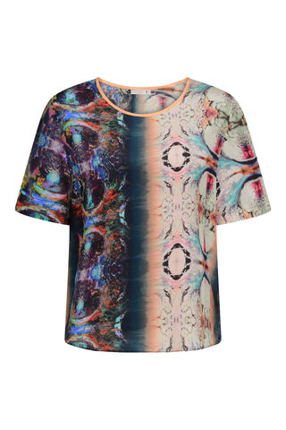 CLEMENTINE,TOP,ORBIT,PRINT,tshirt orbit space print marbling dazed confused vogue