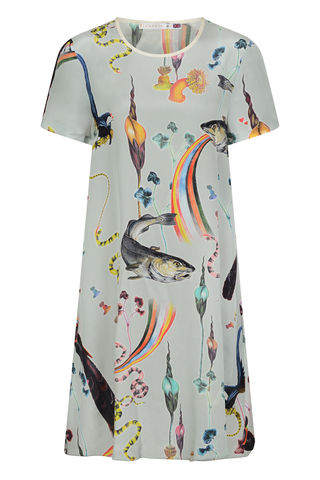 FRIEDA,DRESS,IN,RAINBOW,TROUT,PRINT,RAINBOW TROUT SHIFT DRESS