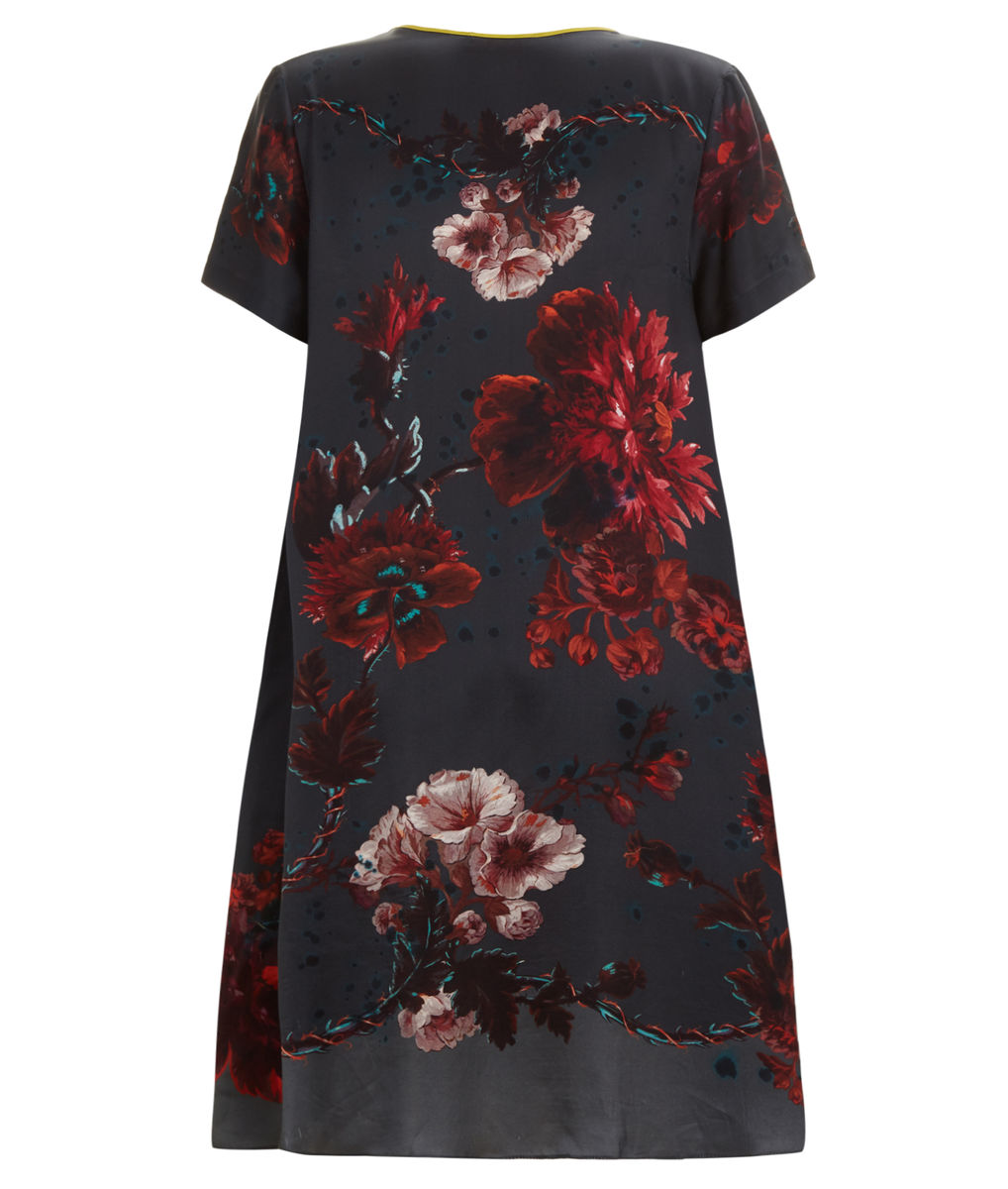 Frieda Dress in Gothic Floral Print (Petrol) - product images  of