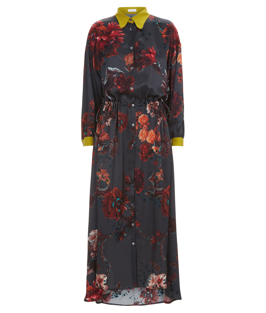 Escapist Dress in Gothic Floral print (petrol) - product images  of
