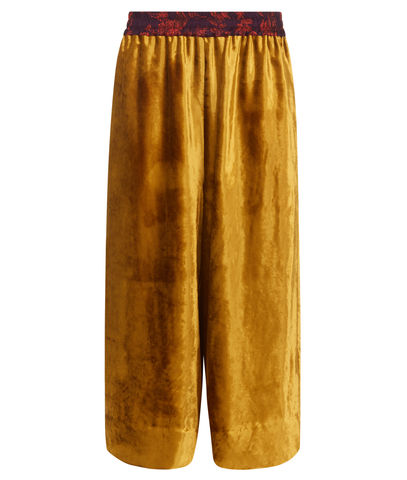 Pluto,culottes,in,Gold,Velvet,gold velvet culottes made in england