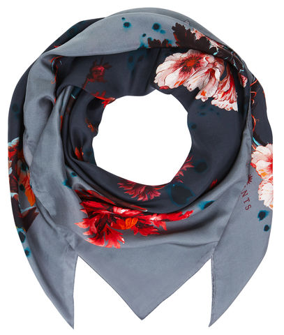 Square,scarf,in,Gothic,Floral,print,(petrol),painted flower floral large scarf made in italy