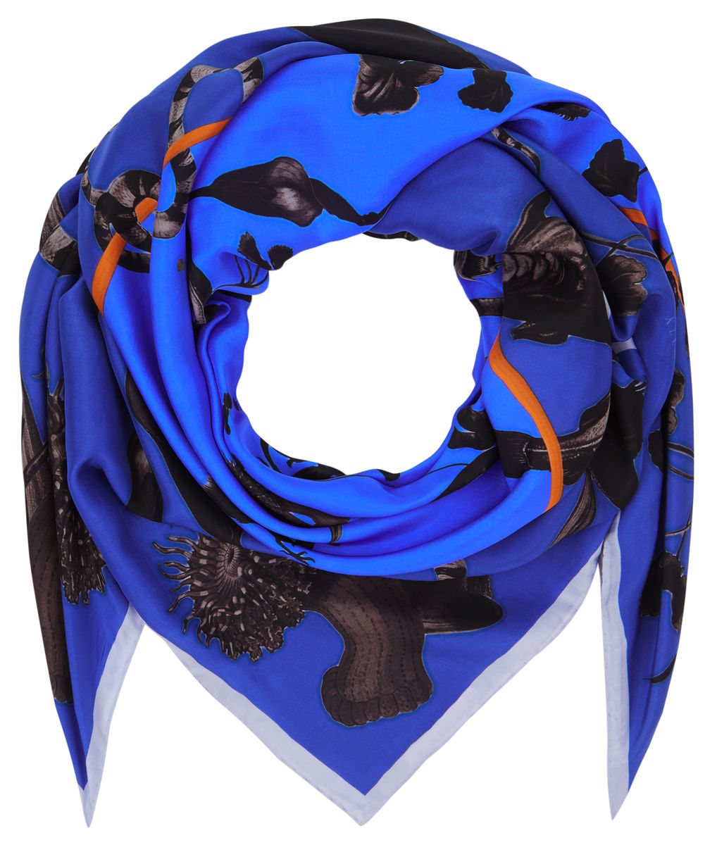 Square scarf in Rainbow Trout Print (blue) - product images  of