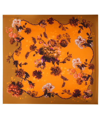 Square,scarf,in,Gothic,Floral,print,(Ochre),painted flower floral large scarf made in italy