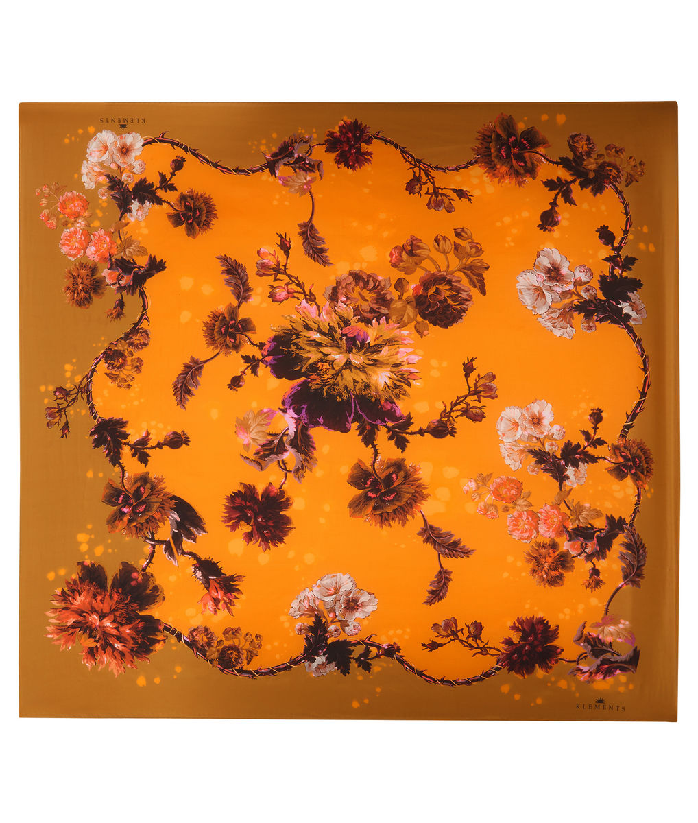 Square scarf in Gothic Floral print (Ochre) - product images  of