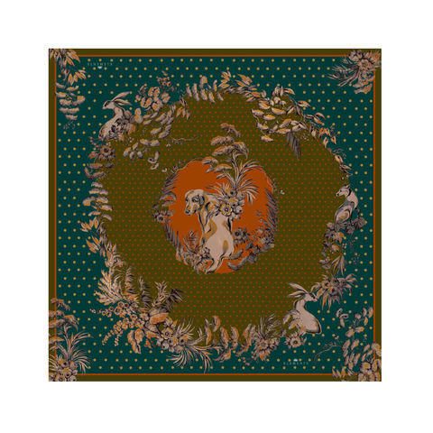Medium,scarf,in,Garden,puppets,(forest),golden retriever dog forest chinoiserie silhouette scarf